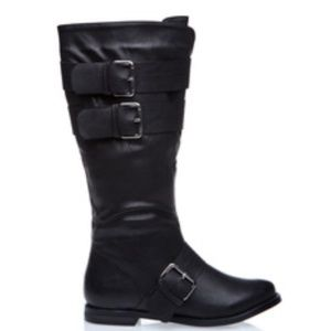 Shoedazzle Blake Black 3 buckle boot 7.5
